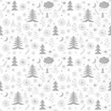 Seamless Christmas pattern trees. Seamless Christmas pattern. Golden winter background for Christmas and New Year Design vector illustration