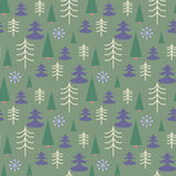 Seamless Christmas pattern with trees. Ideal for wrapping paper, invitation card or other print materials Stock Photos