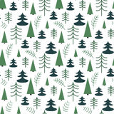 Seamless Christmas pattern with trees. Ideal for wrapping paper, invitation card or other print materials Royalty Free Stock Photo