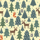 Seamless Christmas pattern - varied Xmas trees, houses,foxes, owls and deers. Happy New Year background. Vector design for winter holidays. Child drawing style Royalty Free Stock Image