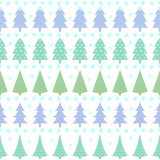 Seamless Christmas pattern - varied Xmas trees, stars and snowflakes. Pastel colors forest illustration. Happy New Year background. Vector design for winter Stock Photos