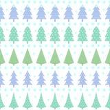 Seamless Christmas pattern - varied Xmas trees, stars and snowflakes. Stock Photos