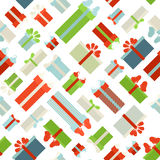 Seamless Christmas pattern. Various gift boxes on white background. Texture for your festive design Stock Image