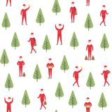 Seamless christmas pattern. Vector santa claus and tree illustration. Royalty Free Stock Image