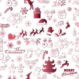 Seamless Christmas pattern on a white background . Vector hand drawing sketch illustration. Seamless Christmas pattern on a white background. Vector illustration Royalty Free Stock Photo