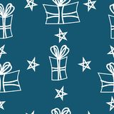 Seamless Christmas pattern with white gift box and star. Seamless Christmas pattern with white gift box and star on the blue background. Vector illustration Royalty Free Stock Photos