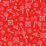 Seamless Christmas pattern white objects on red background.  royalty free illustration