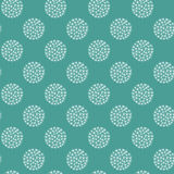 Seamless Christmas pattern white snowballs flakes stars on green blue background, fabric, gift wrapping paper royalty free illustration