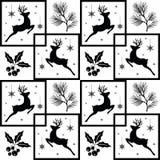 Seamless Christmas pattern. White snowflakes ,deer,  black on white background Royalty Free Stock Photos
