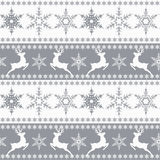 Seamless Christmas pattern. White snowflakes ,deer, gray  Stock Images