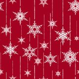 Seamless Christmas pattern. White snowflakes on a red background. Colorful background Stock Illustration