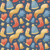 Seamless christmas pattern  winter clothes, hat, scarf, gloves, mittens, heart Stock Photo