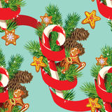 Seamless christmas pattern with  xmas gingerbread Royalty Free Stock Image