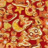 Seamless christmas pattern - xmas gingerbread Stock Images