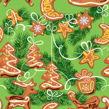 Seamless christmas pattern - xmas gingerbread Stock Photo