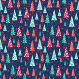 Seamless Christmas Pattern - Xmas Trees And Snowflakes Stock Photos