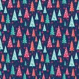 Seamless Christmas pattern - Xmas trees and snowflakes vector illustration