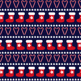 Seamless Christmas pattern - Xmas trees, stars and xmas socks. Stock Photo