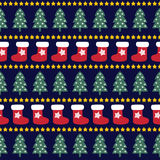 Seamless Christmas pattern - Xmas trees, stars and xmas socks. Royalty Free Stock Image