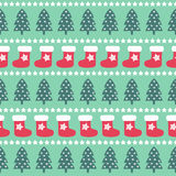 Seamless Christmas pattern - Xmas trees, stars and xmas stockings. Happy New Year and Merry Xmas background. Vector design for winter holidays on mint Stock Photos