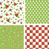 Seamless Christmas patterns. Set of backgrounds for wrapping paper, wallpaper, fabric design. Seamless Christmas patterns. Set of vector backgrounds for wrapping Stock Photo