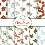 Seamless Christmas patterns. set. EPS 10 vector illustration Stock Photos