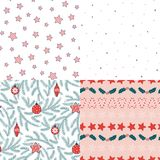 Seamless Christmas patterns. Set of four hand drawn seamless vector patterns with fir tree branches, Christmas decorations, stars, snowflakes, sugar canes, holly Stock Photo