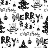 Seamless Christmas patterns-various Christmas trees,lettering, gifts,balls .Vector design for the winter holidays. Seamless Christmas patterns-various Christmas Stock Photo