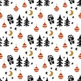 Seamless Christmas patterns. Vector design for the winter holidays.  Stock Photography