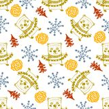 Seamless Christmas patterns.Vector design for the winter holidays.  Stock Image