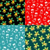 Seamless christmas patterns. Vector illustration. Seamless christmas patterns with with bells, christmas candy, holly and socks. Vector illustration royalty free illustration