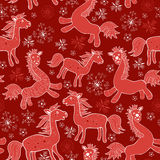 Seamless with Christmas red drawing horses Stock Photography