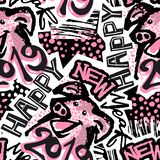 Seamless Christmas repeating hand craft expressive ink pattern. vector illustration