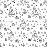 Seamless christmas scandinavian style doodle pattern Royalty Free Stock Photo