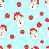 Seamless Christmas snowman. On a blue background Royalty Free Stock Photography