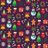 Seamless christmas symbols. Xmas green tree, gift toys or holidays sweets and traditional gingerbread man pattern vector. Seamless christmas symbols. Xmas green vector illustration