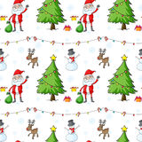 A seamless christmas template with Santa Claus and christmas tre Royalty Free Stock Image