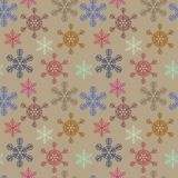 Seamless christmas texture with snowflakes on beige background royalty free illustration