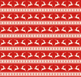 Seamless Christmas Traditional Pattern with Deers and Snowflakes Royalty Free Stock Photography