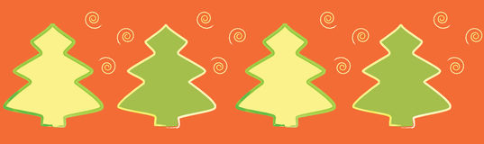 Seamless Christmas-tree border. Festive seamless Christmas-tree border on red with spirals Royalty Free Stock Photos