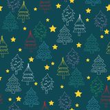 Seamless Christmas Tree Doodles Pattern Stock Photo