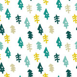 Seamless christmas tree pattern in flat style Royalty Free Stock Image