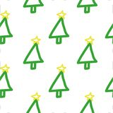Seamless  Christmas tree pattern. Hand drawn, cute, childish, holiday`s symbol on white background. Stock Photo
