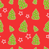 Seamless Christmas tree. On a red background Royalty Free Stock Photos