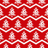 Seamless Christmas tree red pattern Royalty Free Stock Photo