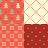 Seamless christmas tree snowflake background Royalty Free Stock Photo
