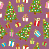 Seamless Christmas Trees and Gifts Royalty Free Stock Photos