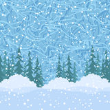 Seamless, Christmas Trees and Snow. Christmas Holiday Seamless Horizontal Background, Green Fir Trees Silhouettes, Bushes and Blue Sky with White Snow and Royalty Free Stock Image