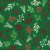 Seamless Christmas vector background with abstract leaves red, green, beige. Simple leaf texture, endless foliage pattern. Holiday vector illustration