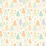 Seamless Christmas vector pattern with colorful fir-trees on a b Stock Photos